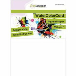 CraftEmotions WaterColor Card - Briljant Wit - 350 gr/A5/10 vellen