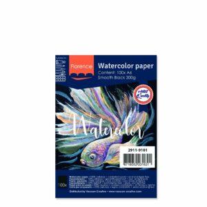 Florence Aquarelpapier A5 Glad Zwart 300gr/15vellen 2911-9122
