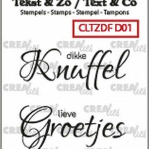 Crealies Clearstamp Tekst & Zo Divers no. 1 Knuffel Groetjes CLTZDFD01