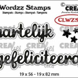 Crealies Clearstamp Wordzz Hartelijk gefeliciteerd CLWZS01