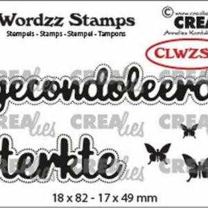 Crealies Clearstamp Wordzz Gecondoleerd sterkte CLWZS05