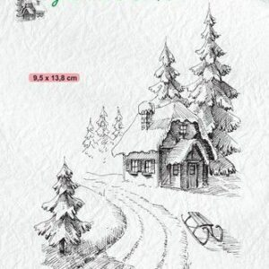 Nellies Choice clearstamp - Idyllic Floral - Winter huis IFS023