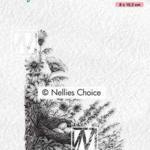 Nellie's Choice clearstamp - Idyllic Floral Scenes - Vogelnest IFS032