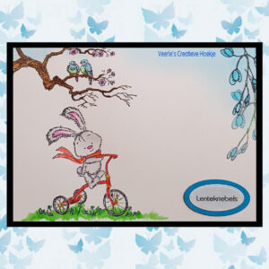 Nellies Choice Clearstempel - Cuties Javi op de fiets NCCS004