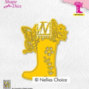 Nellies Choice Shape Die - Laars met bloemen SD198