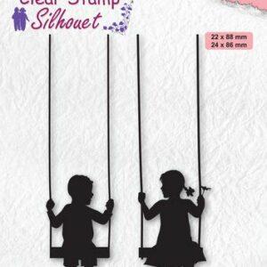 Nellies Choice Clearstempel - Silhouette Kinderen op schommel SIL076