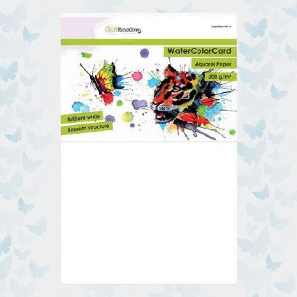 CraftEmotions WaterColor Card - Briljant Wit - 200gr/ A4/ 10 vellen