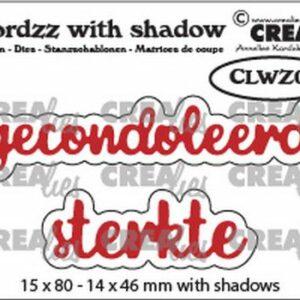 Crealies Wordzz Snijmallen met schaduw - Gecondoleerd-Sterkte CLWZ05