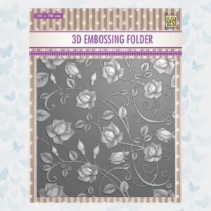 Nellie's Choice 3D Emb. Folder Rozen EF3D011