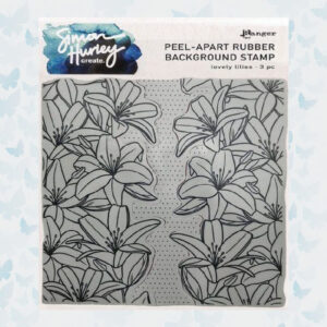 Ranger Cling Rubber Background Stamp 6x6 Lovely Lilies HUR75479 Simon Hurley