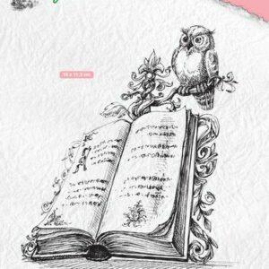 Nellie's Choice Clearstamp - Idyllic Floral Scenes - Boek met Uil IFS013