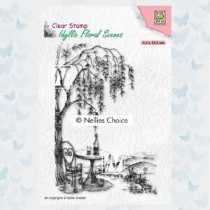 Nellie's Choice clearstamp - Idyllic Floral Scenes - Zitplek bij een boom IFS031