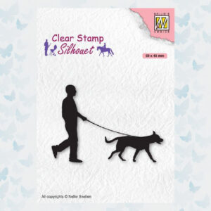 Nellies Choice Clearstempel - Silhouette Man met hond SIL070