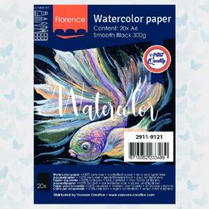 Florence Aquarelpapier A6 Glad Zwart 300gr/20vellen 2911-9121
