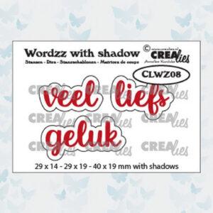 Crealies Wordzz Snijmallen met schaduw - Veel Liefs CLWZ08