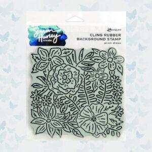 Ranger Cling Rubber Background Stamp 6x6 Prom Dress HUR71747 Simon Hurley