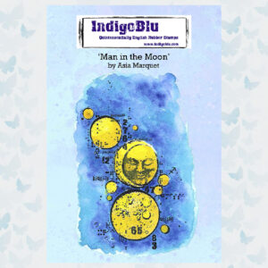 IndigoBlu Man in the Moon by Asia A6 Rubber Stamp (IND0758)