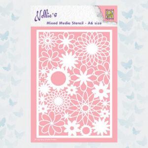 Nellies Choice Mixed Media Stencils A6 Bloemen MMSA6-006