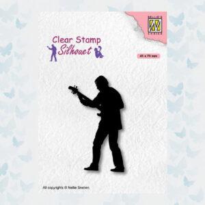 Nellies Choice Clearstempel - Silhouette Teenagers - Gitaar SIL088