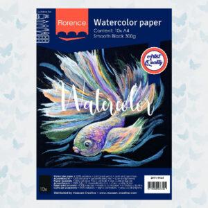 Florence Aquarelpapier A4 Glad Zwart 300gr/10vellen 2911-9123