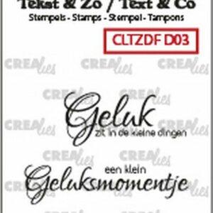 Crealies Clearstamp Tekst & Zo Font Geluk CLTZDFD03