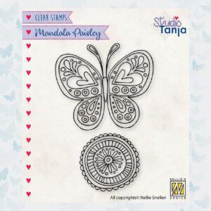 Nellies Choice Clear Stempel Mandala - Paisley Vlinder CSMAN011