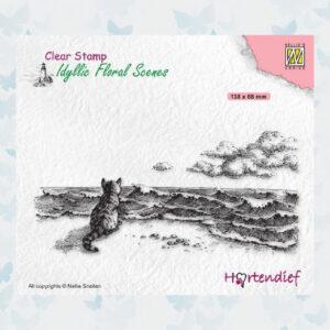 Nellies Choice Clear Stempel - Idyllic Floral - Kat bij de zee IFS042