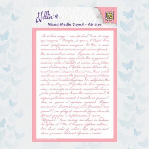 Nellies Choice Mixed Media Stencils Tekst MMSA6-019