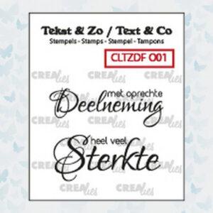 Crealies Clearstamp Tekst & Zo Font Overlijden no. 1 CLTZDFO01