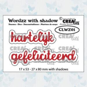 Crealies Wordzz Snijmallen met schaduw - Hartelijk Gefeliciteerd CLWZ01