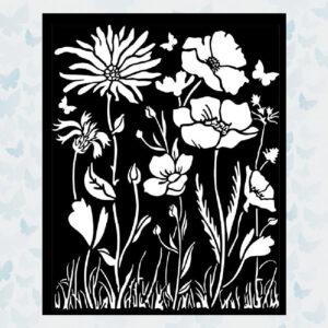 Stamperia Thick Stencil 20x25cm Atelier Poppy and Flower (KSTD072)