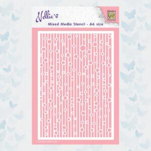 Nellie's Choice Mixed Media Stencils A6 Lijnen & Bubbels MMSA6-010