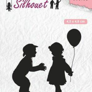 Nellies Choice Clearstempel - Silhouette kinderen met ballon SIL046