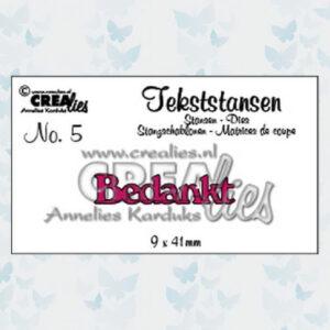 Crealies Tekstmal - Bedankt CLTS05