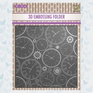 Nellies Choice 3D Embossing Folder - Tijd EF3D031