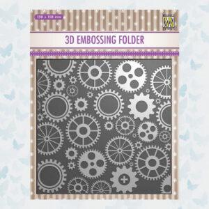 Nellies Choice 3D Embossing Folder - Tandwielen EF3D032