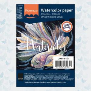 Florence Aquarelpapier A6 Glad Zwart 300gr/100vellen 2911-9101