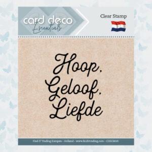 Card Deco Essentials - Clear Stamps - Hoop, Geloof, Liefde CDECS029