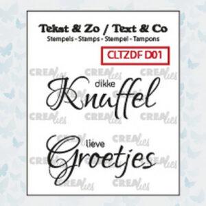 Crealies Clearstempels Tekst & Zo Divers no.1 Knuffel/Groetjes CLTZDFD01