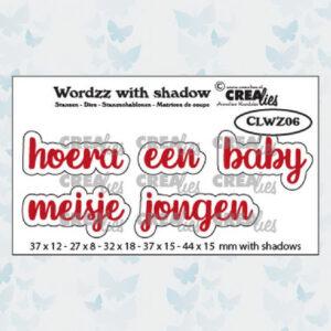 Crealies Wordzz Snijmallen met schaduw - Hoera een Baby CLWZ06
