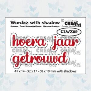 Crealies Wordzz Snijmallen met schaduw - Hoera Getrouwd CLWZ09