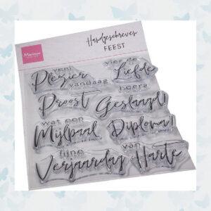 Marianne Design Clear Stempels Handgeschreven Feest CS1086