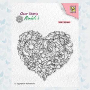 Nellies Choice Clearstamp Mandala - Bloemen hart CSMAN001