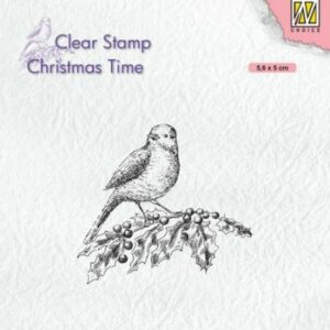Nellies Choice Clearstempel - Chris. time - Vogel op hulst CT032