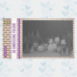 Nellies Choice Emb.folder Besneeuwd dorp EF3D017