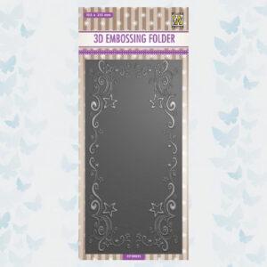 Nellies Choice 3D Embossing Folder - Slimline Curls-Sterren Frame EF3D035