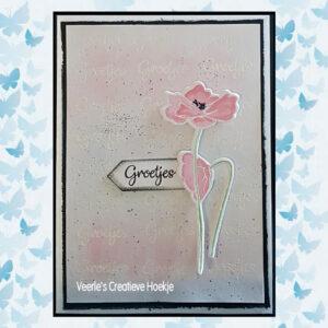 Nelie's Choice Flowers Die cut & clearstamp set Klaproos HDCS008
