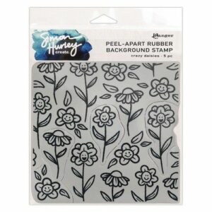 Ranger Cling Rubber Background Stamp 6x6 Crazy Daisies HUR75455 Simon Hurley