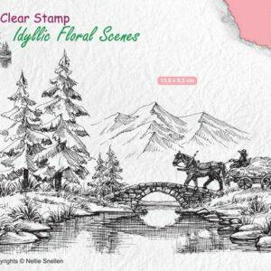 Nellie's Choice Clearstamp - Idyllic Floral Scenes Wagen met Paard IFS022