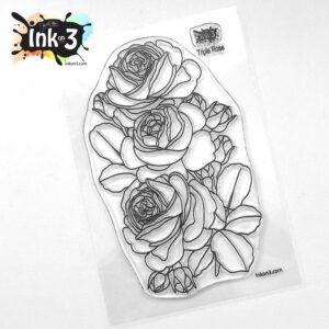 InkOn3 Clear Stempel Set Triple Rose